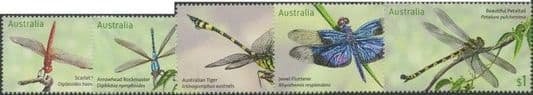AUS SG4759-63 Stamp Collecting Month 2017: Dragonflies set of 5