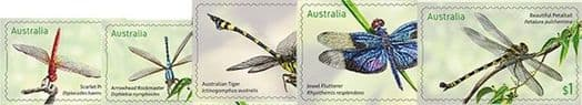 AUS SG4765-9 Stamp Collecting Month 2017: Dragonflies self-ad set of 5 from booklets (exSB579-80)