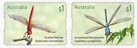 AUS SG4765a Stamp Collecting Month 2017: Dragonflies self-adhesive strip of 2 from roll