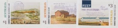 AUS SG4839-41 Convict Past self-adhesive set of 3 from booklet (exSB592) and sheetlet