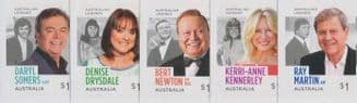 AUS SG4847-51 Australian Legends (22nd Series): TV Entertainers set of 5 from booklets (exSB593-7)
