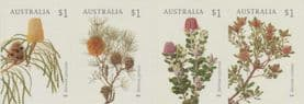 AUS SG4860-3 Banksias self-adhesive set of 4 from booklet (exSB599)