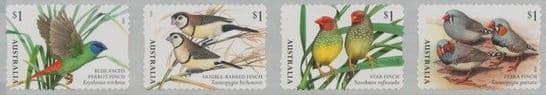 AUS SG4876a Finches of Australia (Part 1) self-adhesive strip of 4 from roll