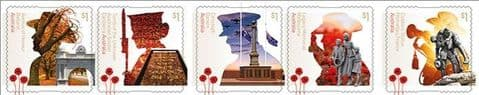 AUS SG4888-92 A Century of Service: War Memorials self-adhesive strip of 5 from booklet (exSB605)