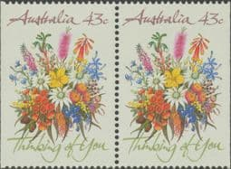 Australian Stamps SG1231 43c Greetings horizontal pair from booklet (exSB71) imperforate at left and right