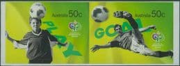 AUS SG2647-8 World Cup, Germany: Soccer in Australia self-adhesives set of 2 from booklet (exSB202)