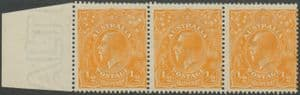Australia SG56 ACSC 66(9)g. KGV Head ½d Orange strip of 3 (AHSMP/88)