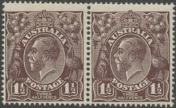 SG 58 ACSC 83(3)h. KGV Head 1½d Black-Brown pair