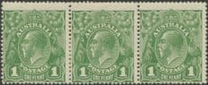 Australia SG83 ACSC 79(4)g. KGV Head 1d Sage-Green strip of 3 (AHSMP/273)