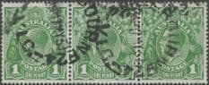 Australia SG86 ACSC 80(2)la., 80(2)m. KGV Head 1d Green strip of 3 (AHSUP/456)