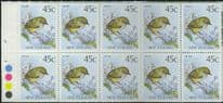 NZ Booklet SGSB56 $4.50 Rock Wren Booklet containing SG1463b with plate dots