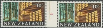 NZ Counter Coil Pair SG873 Trade Promotion Issue 20c Timber Industry Join No. 1 (NCC/114)