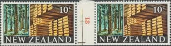 NZ Counter Coil Pair SG873 Trade Promotion Issue 20c Timber Industry Join No. 18 (NCC/115)