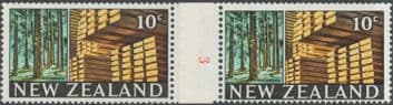 NZ Counter Coil Pair SG873 Trade Promotion Issue 20c Timber Industry Join No. 3 (NCC/116)