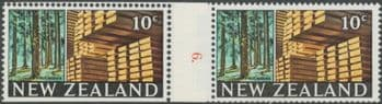 NZ Counter Coil Pair SG873 Trade Promotion Issue 20c Timber Industry Join No. 6 (NCC/117)