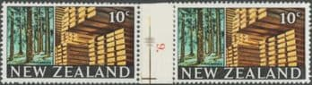 NZ Counter Coil Pair SG873 Trade Promotion Issue 20c Timber Industry Join No. 9 (NCC/118)