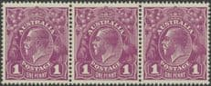 SG 57 ACSC 76(4) KGV Head 1d Violet strip of 3 (AHSMPP/130)
