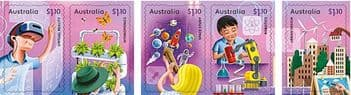 AUS 03/08/2021 Stamp Collecting Month 2021: Full STEAM Ahead self-ad set of 5 from booklet (exSB754)