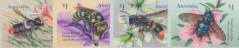 AUS 14/05/2019 Native Bees self-adhesive set of 4 from booklet (exSB654-7)
