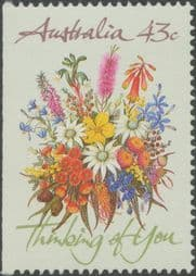 Australian Stamps 1990 SG1231 43c Greetings from booklet (exSB71) imperforate at left
