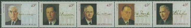 AUS SG1470a Wartime Prime Ministers strip of 5