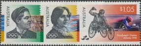 AUS SG1627-9 Olympic and Paralympic Games 1996, Atlanta set of 3 singles