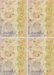 Australian Stamps 1998 SG1756 45c Greetings Stamp, Champagne Roses self-adhesive from booklet (exSB120) block of 4