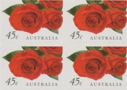 Australian Stamps 1999 SG1843 45c Greetings Stamp, Romance self-adhesive from booklet (exSB128) block of 4