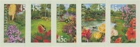 AUS SG1965-9 Gardens self-adhesive set of 5 from booklet (exSB135)
