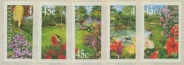 AUS SG1965-9 Gardens self-adhesive set of 5 singles from roll