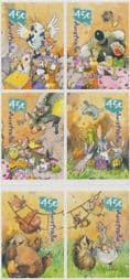 Australian Stamps 2001 SG2151-6 National Stamp Collecting Month: Wild Babies s-a set of 6 from booklet (exSB147)