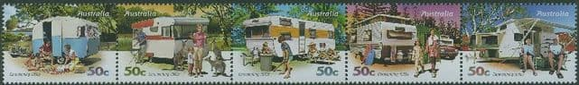 AUS SG2884a Stamp Collecting Month 2007: Caravanning Through the Ages strip of 5