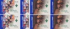 AUS SG2921-2 Int Post: Cent Scouting in Australia s-a set of 2 from booklets (exSB262-3) blocks of 4