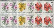 AUS SG465a-8d Floral coil stamps set of 6 coil pairs