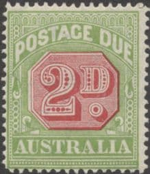 Australia Postage Due SG D102 2d Carmine and Yellow Green (perf 14) (PPCG/213)