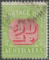 Australia Postage Due SG D102 2d Carmine and Yellow Green (perf 14) (PPCG/396)