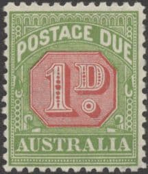 Australia Postage Due SG D106 1d Carmine and Yellow Green (perf 11) (PPCG/204)