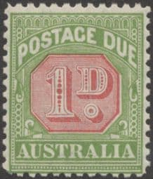 Australia Postage Due SG D106 1d Carmine and Yellow Green (perf 11) (PPCG/208)