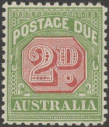 Australia Postage Due SG D107 2d Carmine and Yellow Green (perf 11) (PPCG/216)