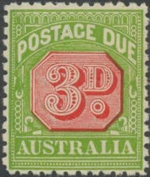 Australia Postage Due SG D108 3d Carmine and Yellow Green (perf 11) (PPCG/414)