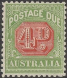 Australia Postage Due SG D109 4d Carmine and Yellow Green (perf 11) (PPCG/220)