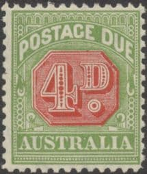 Australia Postage Due SG D109 4d Carmine and Yellow Green (perf 11) (PPCG/221)