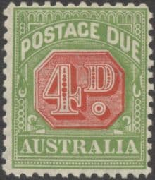 Australia Postage Due SG D109 4d Carmine and Yellow Green (perf 11) (PPCG/222)