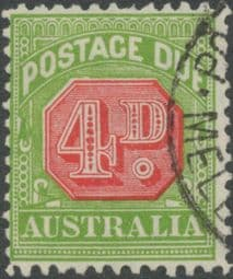 Australia Postage Due SG D109 4d Carmine and Yellow Green (perf 11) (PPCG/397)