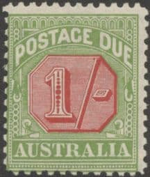 Australia Postage Due SG D111 1/- Carmine and Yellow Green (perf 11) (PPCG/226)