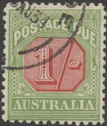 Australia Postage Due SG D111 1/- Carmine and Yellow Green (perf 11) (PPCG/227)