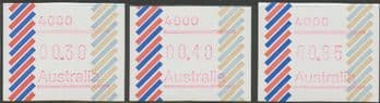 Australian Framas: Barred Edge Button Set 30c, 40c, 85c: Post Code 4000 Brisbane