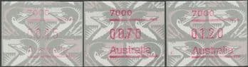 Australian Framas: Emu Button Set 45c, 70c, $1.20: Post Code 7000 Hobart