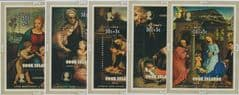 Cook Islands SG MS512 Christmas 1974, Children's Charity set of 5 miniature sheets