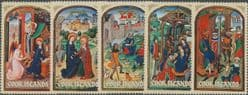 "Cook Islands SG444-8 Christmas 1973, 15th-century Flemish ""Book of Hours"" set of 5"
